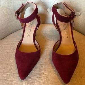 Sole Society Red Suede Ankle Strap Heel Size 9